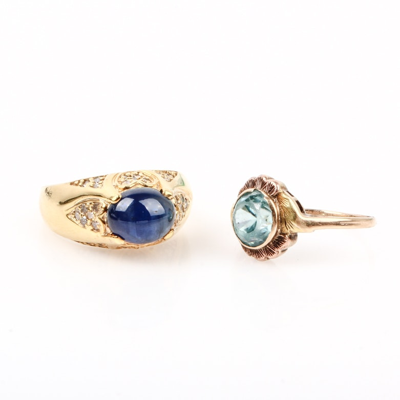 10K Yellow Gold, Star Sapphire, Blue Topaz, and Diamond Rings