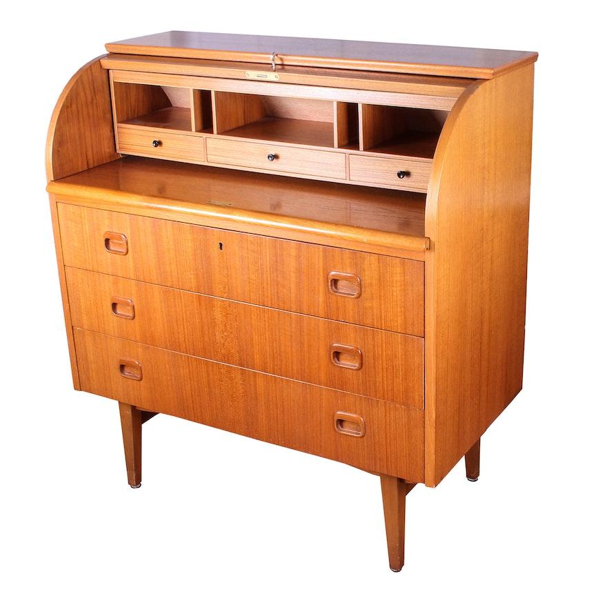 danish modern roll top desk ebth. Black Bedroom Furniture Sets. Home Design Ideas