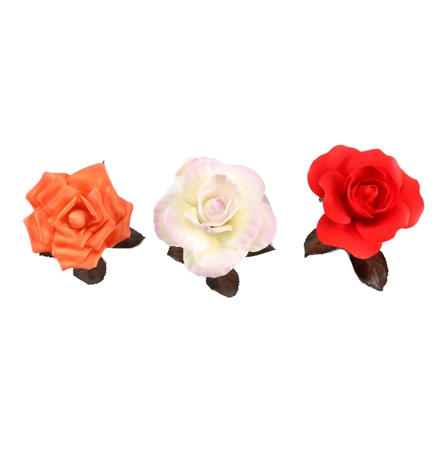 Three Porcelain and Bronze Boehm Roses