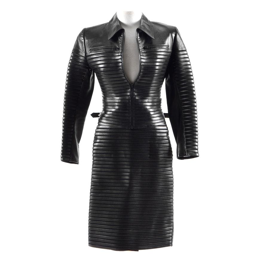 Jitrois of Paris Black Lambskin Leather Jacket with Matching Panel Skirt