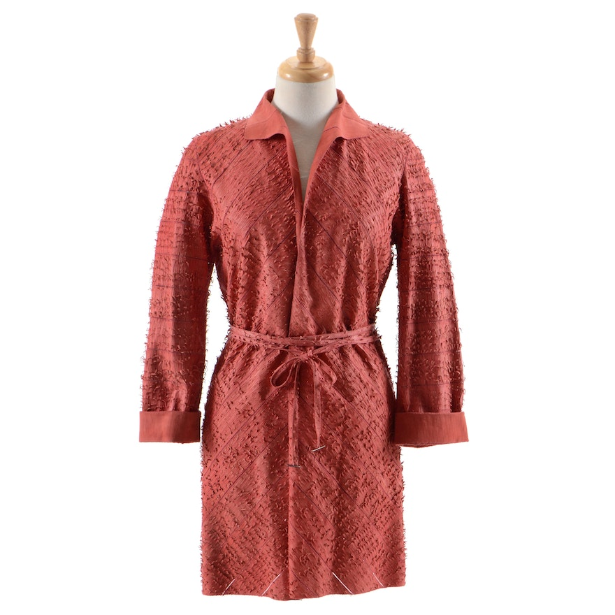 Fendi Suede Leather Hand Textured Knee-Length Coat in Coral