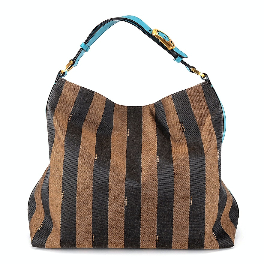 Fendi Pequin Stripe Tote with Turquoise Leather