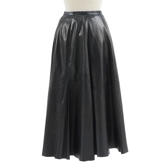 "Saks Fifth Avenue Black Lambskin Leather Ankle-Length Skirt Worn at ""Annie Get Your Gun"" Rehearsal"