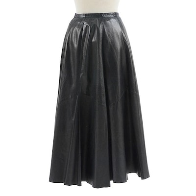 """Saks Fifth Avenue Black Lambskin Leather Ankle-Length Skirt Worn at """"Annie Get Your Gun"""" Rehearsal"""