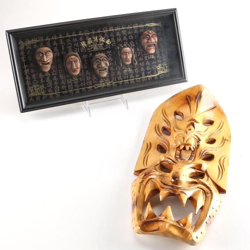 Pair of Hawaiian and Korean Decorative Masks