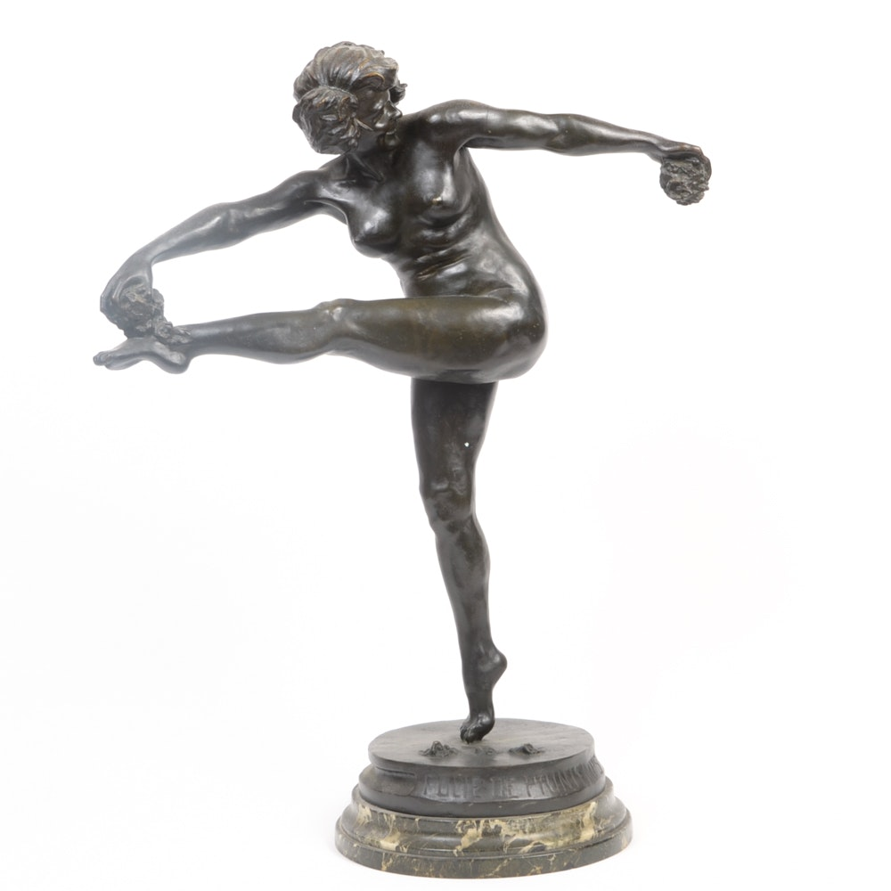 "Maurice Delannoy ""Folie de Printemps"" Bronze Sculpture"