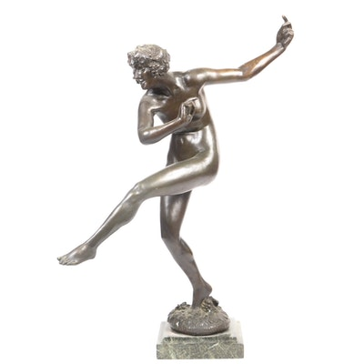 "Maurice Guiraud-Rivière Bronze Sculpture ""Bacchante"""