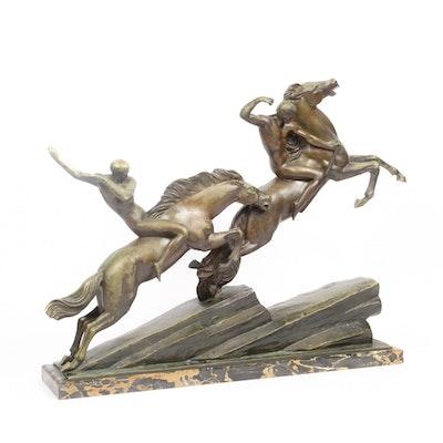"""Armand Lemo Bronze Sculpture """"Chasseurs à Cheval"""""""