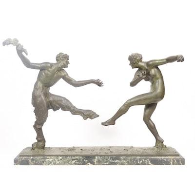 "Maurice Guiraud-Rivière Bronze Sculpture ""Dancing Nymph & Satyr"""
