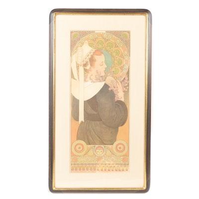 """Alphonse Mucha Lithograph Poster """"Bruyère des Falaises"""""""