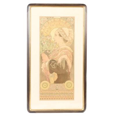 "Alphonse Mucha Lithograph Poster ""Chardon de Grève"""