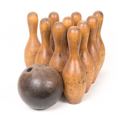 Early 20th Century Wood Bowling Ball and Pins