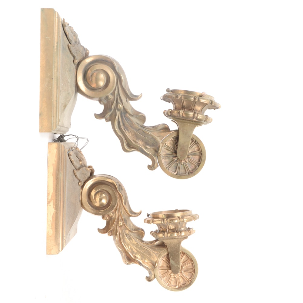 Pair of Neoclassical Bronze Tone Sconces