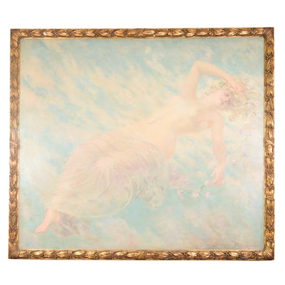 James Carroll Beckwith Oil Painting of Female Nude in Clouds