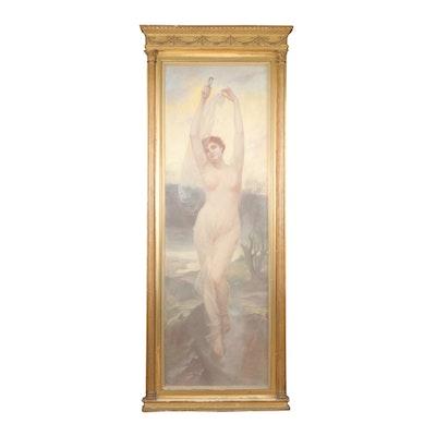 After Alfred Seifert Art Nouveau Oil Pastel