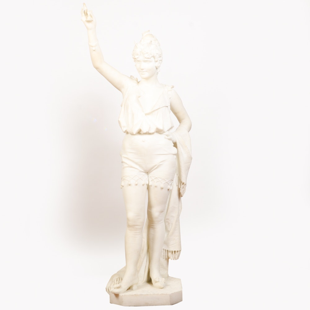 Studio of A. Gambi Marble Sculpture of Young Lady Raising a Glass