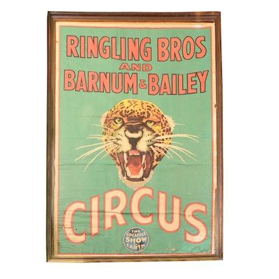 Vintage Ringling Bros Barnum & Bailey Leopard Circus Poster