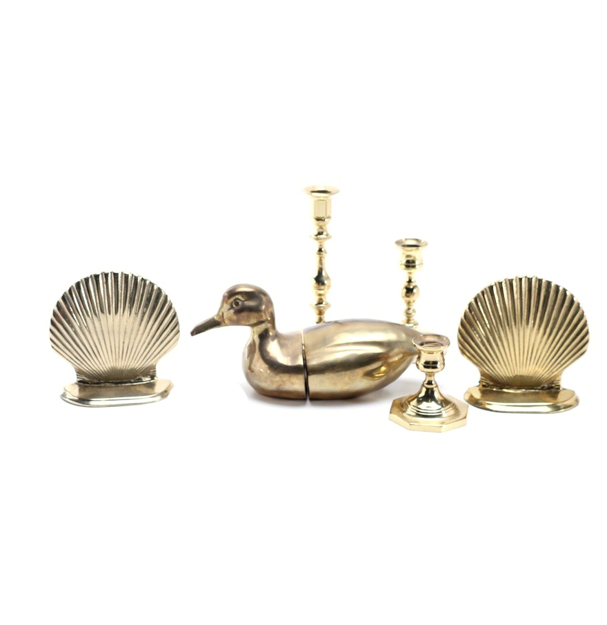 Brass Candle Holder and Bookend Collection