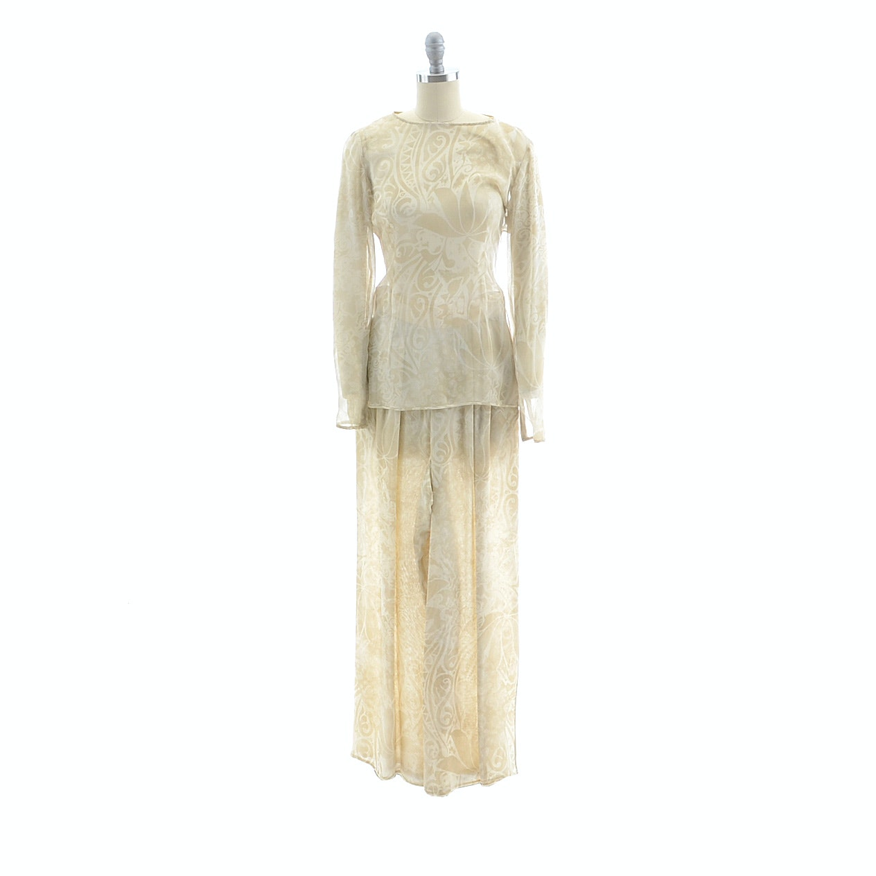 1980s Valentino Boutique Silk Chiffon Print Tunic and Palazzo Pants in Neutral Tones