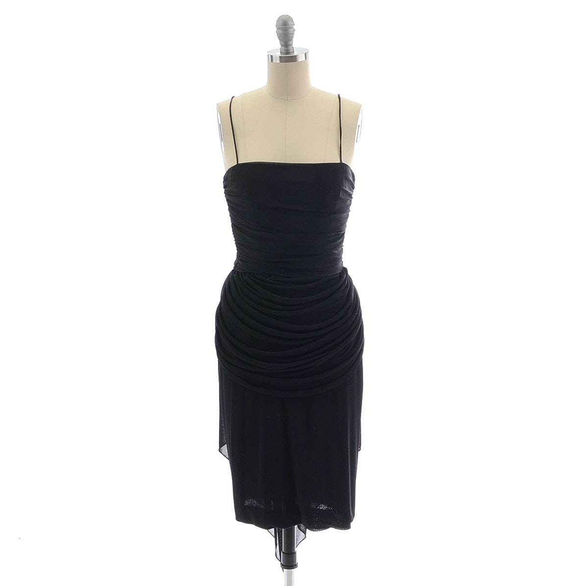 Black Jersey Sleeveless Cocktail Dress with Ruched Panels and Silk Chiffon