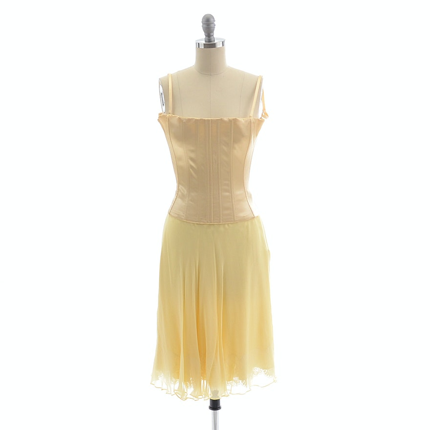 Dolce & Gabbana Sleeveless Satin Bustier and Silk Chiffon Skirt in Pale Yellow with Lace Susan Wore Portraying Erica Kane