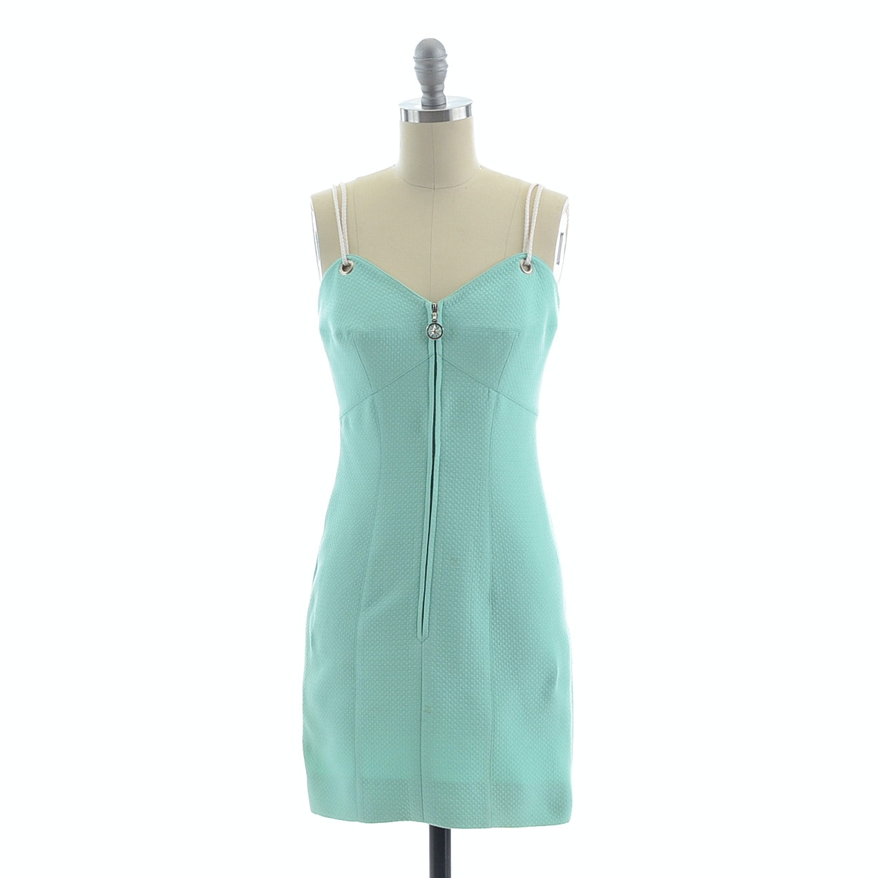 Escada by Margaretha Ley Mint Green Quilted Zipper Front Sleeveless Dress