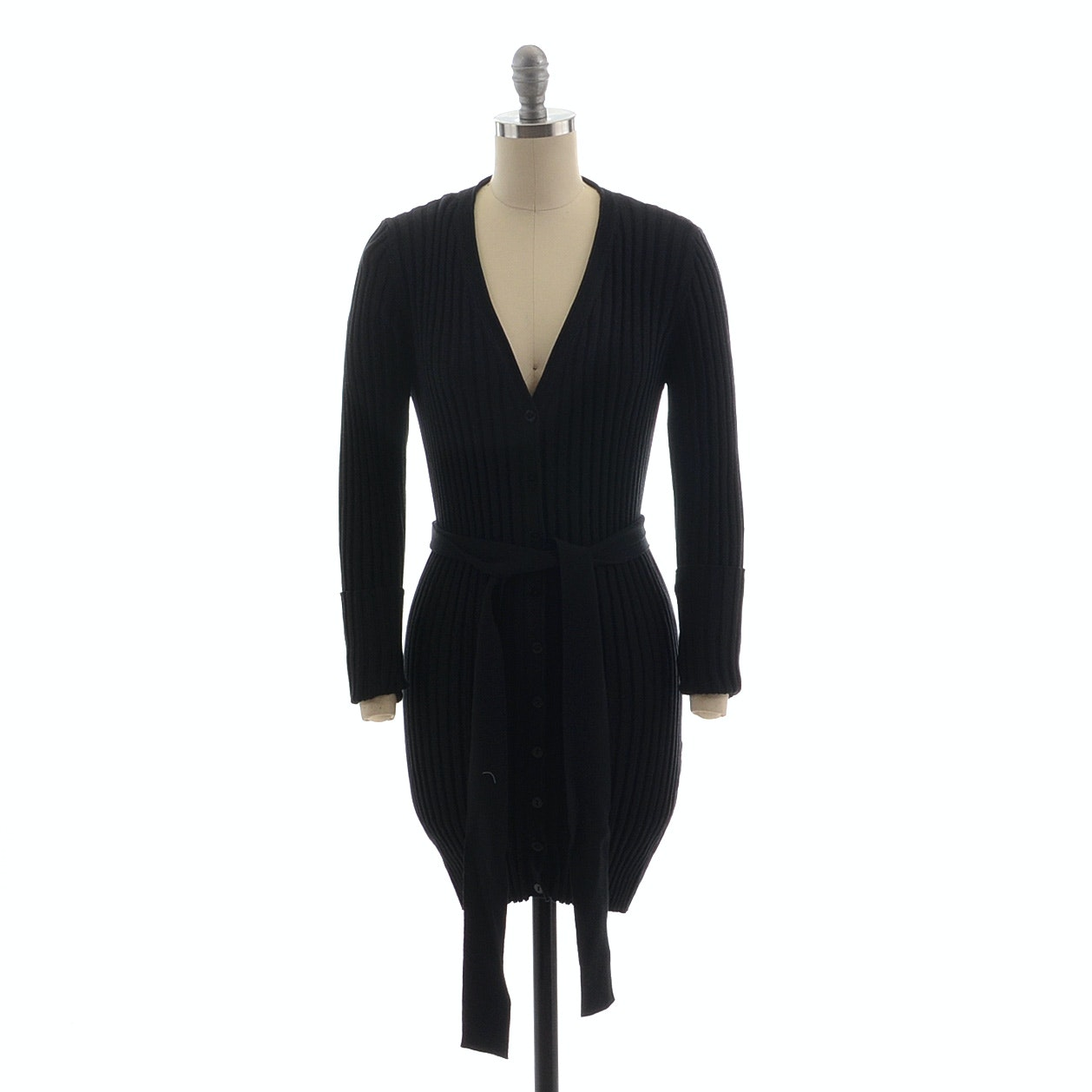Dolce & Gabbana V-Neck Long Black Button Front Cardigan with Tie Belt