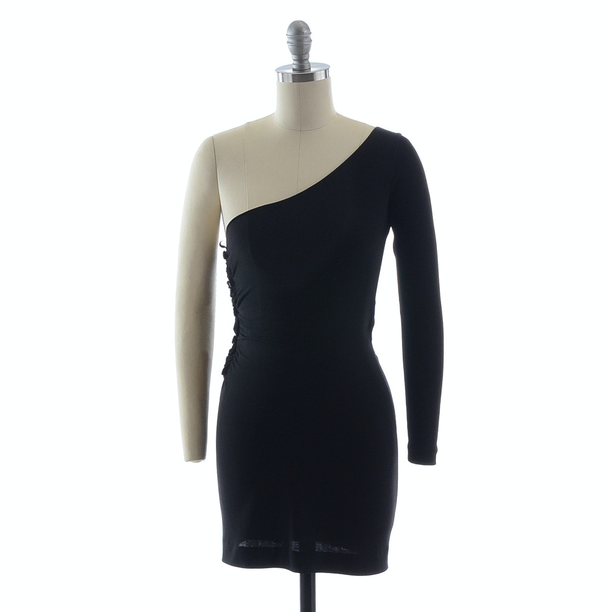 Donna Karan of New York Black One Shoulder Ruched Cocktail Dress