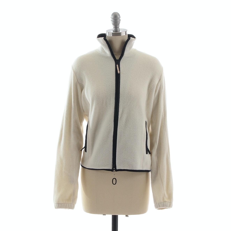 Burberry of London Ivory Fleece Zipper Front Jacket Trimmed in Black