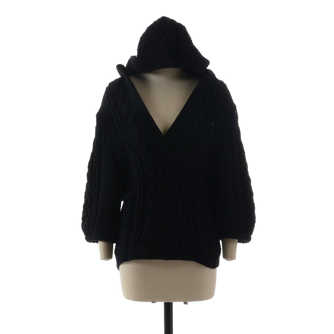 Magaschoni Black Knit Sweater with Hoodie