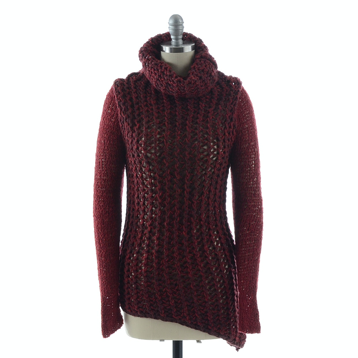 Helmut Lang Turtleneck Open Knit Asymmetrical Sweater in Merlot