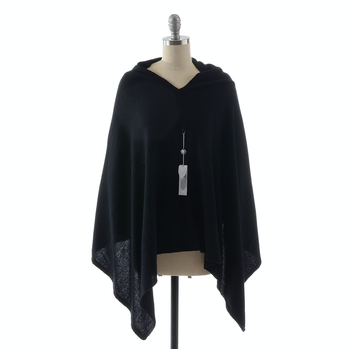 Christopher Fischer Black Cashmere Knit Poncho