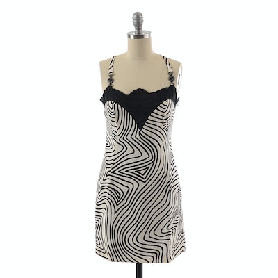 Gianni Versace Couture Black and White Silk Print Slip Dress Accented with Black Lace
