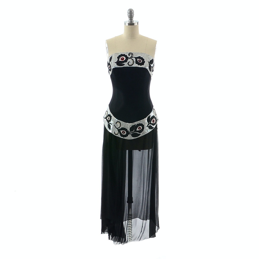 Karl Lagerfeld Formal Ensemble with Sequined Embellished Strapless Bustier Top and Long Black Silk Palazzo Pants