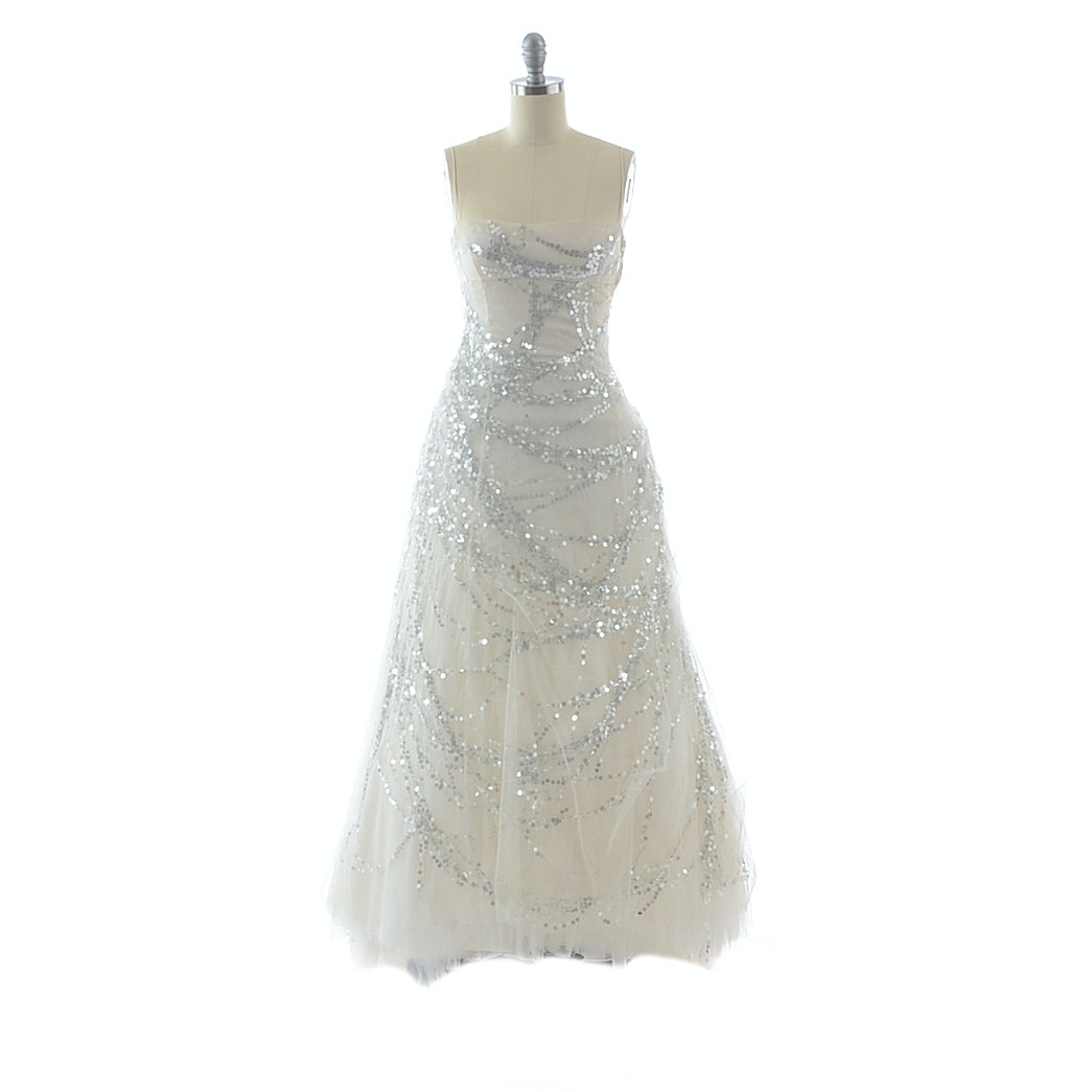 Richard Tyler Sleeveless Bridal Gown in Ivory Mesh Embellished with Silver Sequins