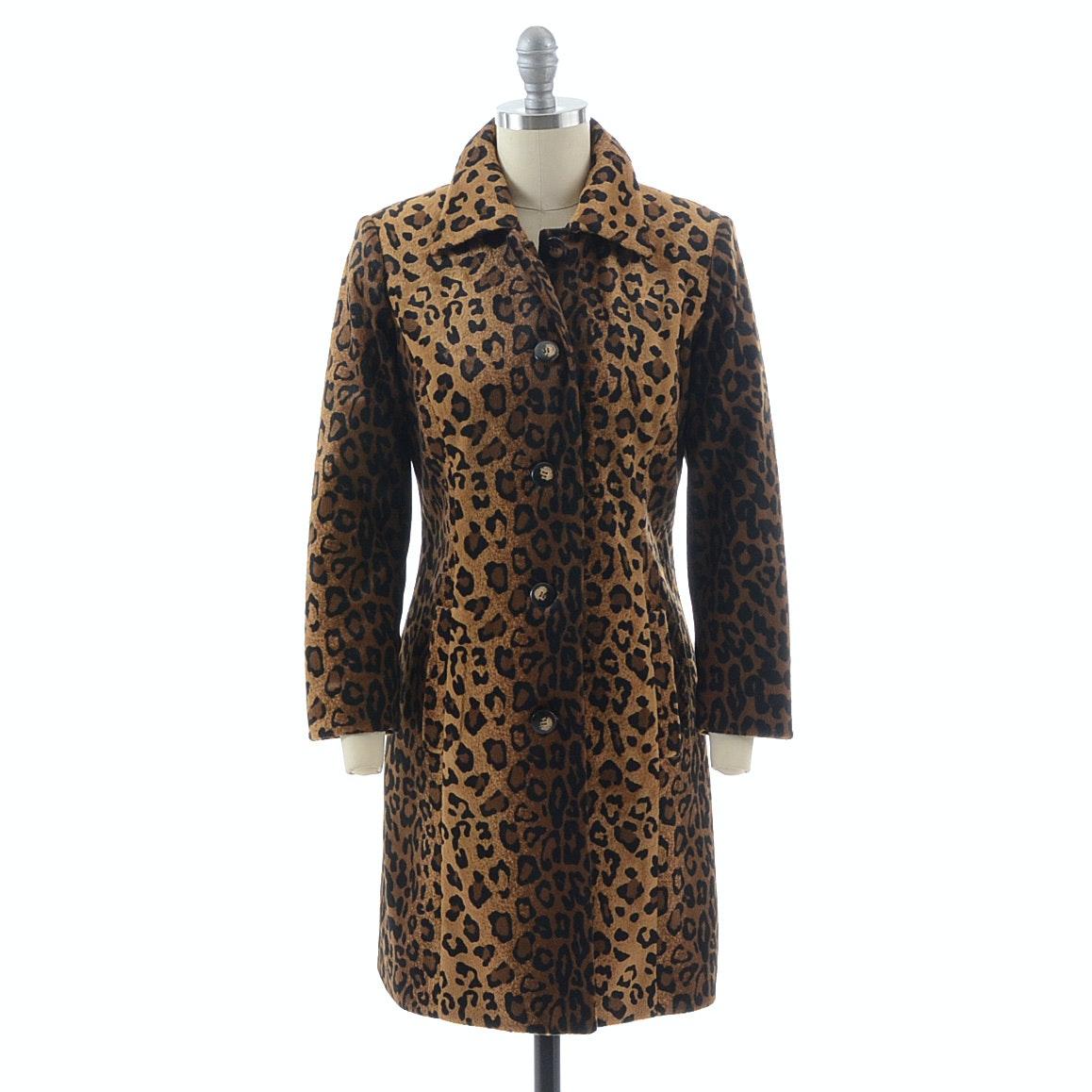 Susan Lucci Brand Leopard Print Faux Fur Coat