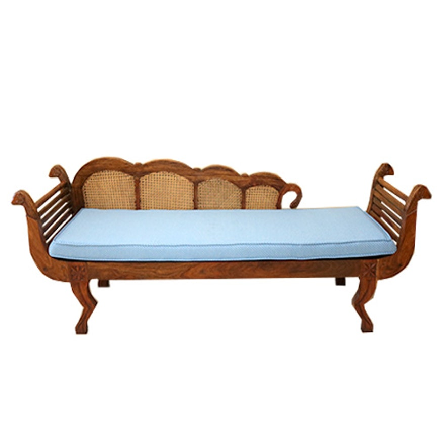 Phenomenal Vintage Wooden Fainting Couch With Carved Sheep Motif Forskolin Free Trial Chair Design Images Forskolin Free Trialorg