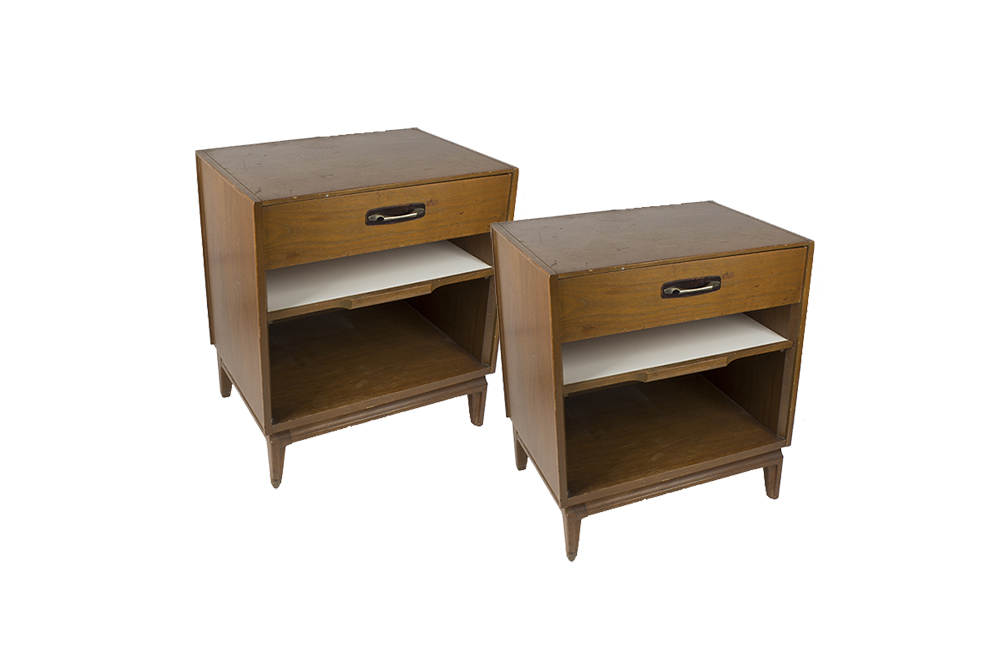 Pair of red lion table company mid century modern nightstands
