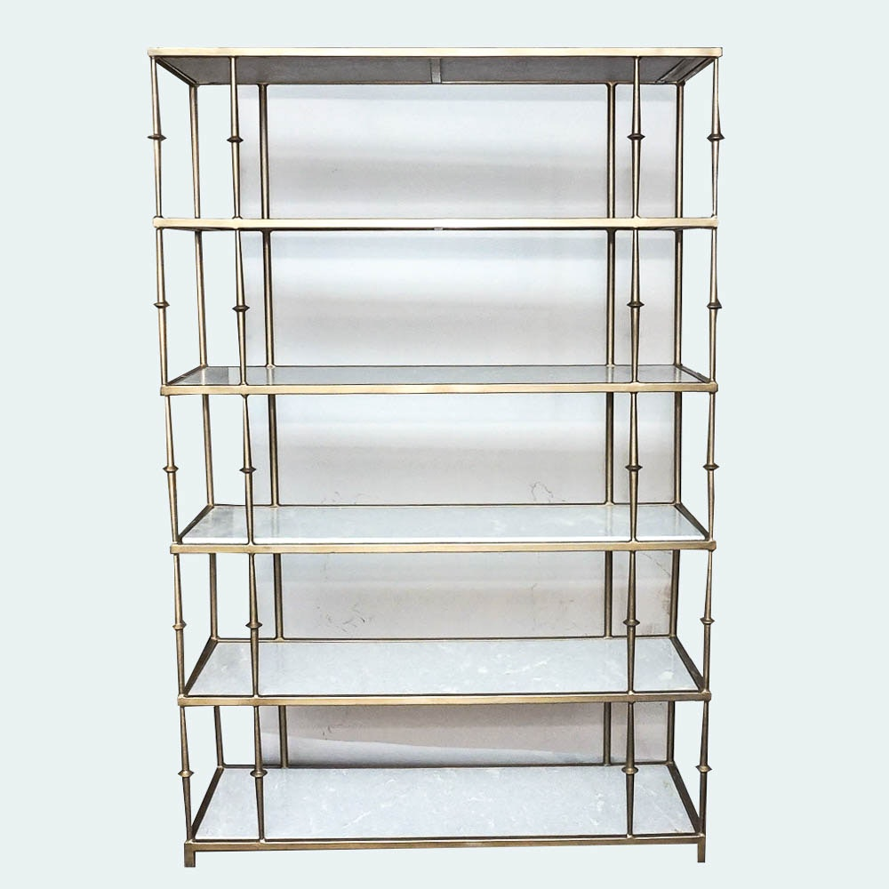 Hollywood Regency Style Marble and Brass Six Tier Shelf