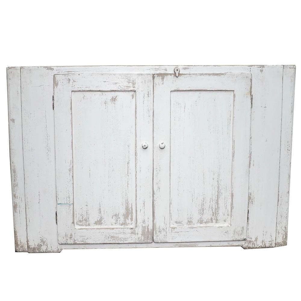 Primitive Painted White Double Door Cabinet