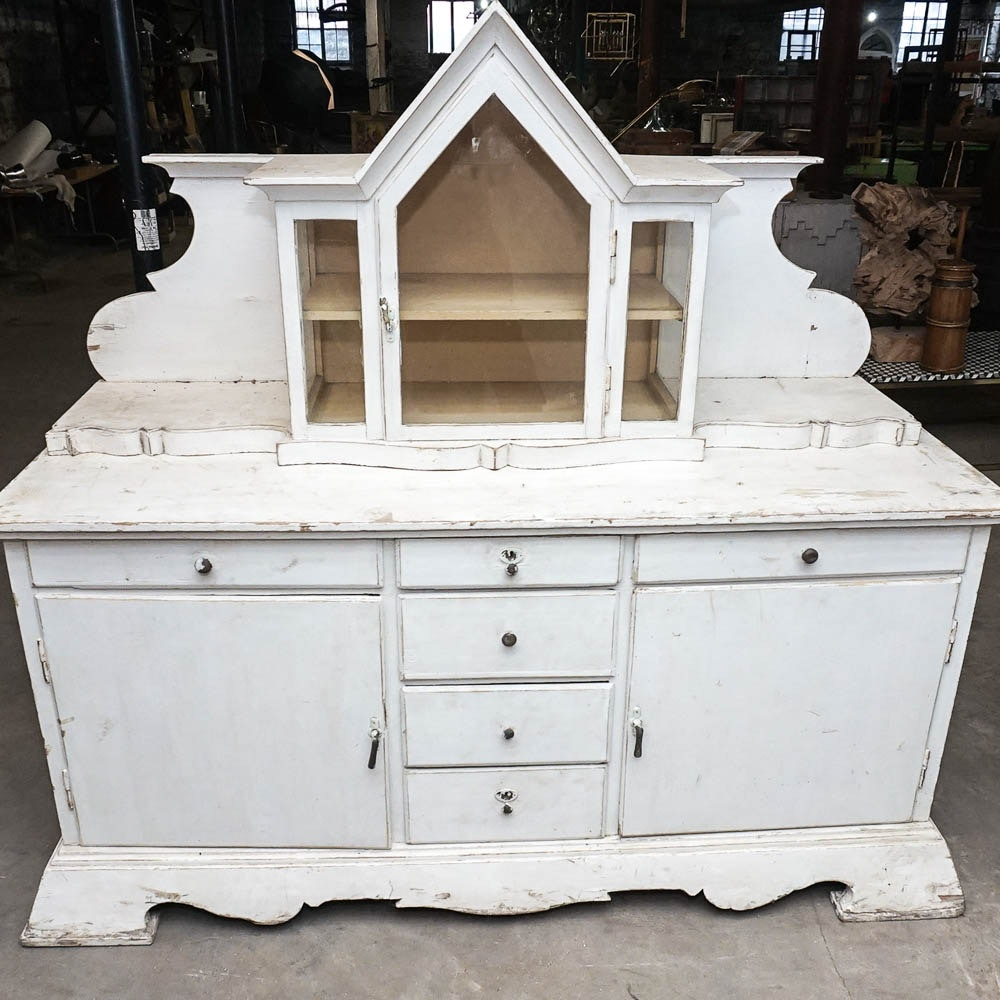 Antique White Vitrine Topped Sideboard