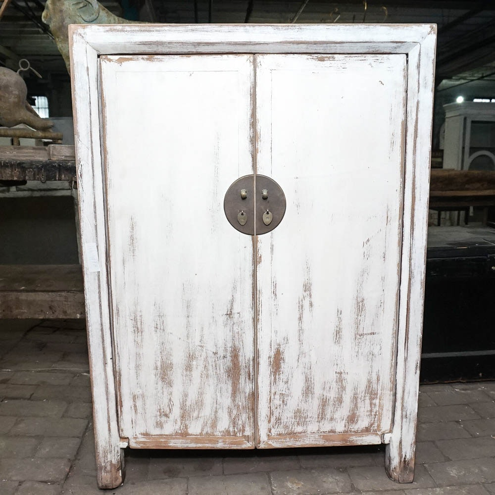 Distressed White Chinese Inspired Double Door Cabinet
