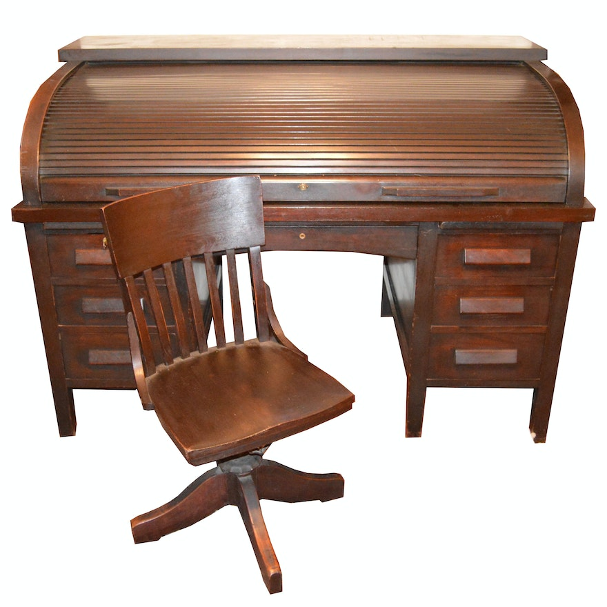 Antique Mahogany Roll-Top Desk and Swivel Chair ... - Antique Mahogany Roll-Top Desk And Swivel Chair : EBTH