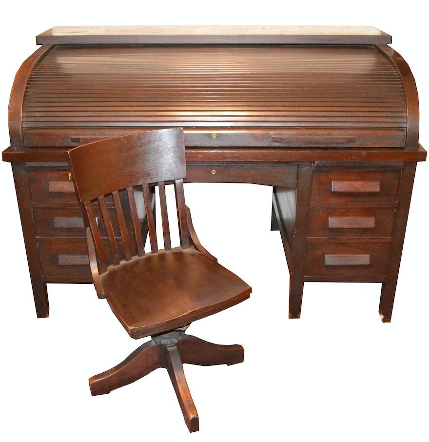 Antique Mahogany Roll-Top Desk and Swivel Chair ... - Antique Mahogany Roll-Top Desk And Swivel Chair : EBTH