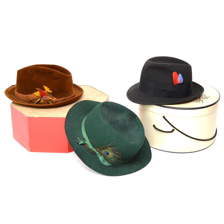 a31cc4bbc6fce Three Men s Vintage Fedora Hats Featuring Stetson and Dobbs   EBTH