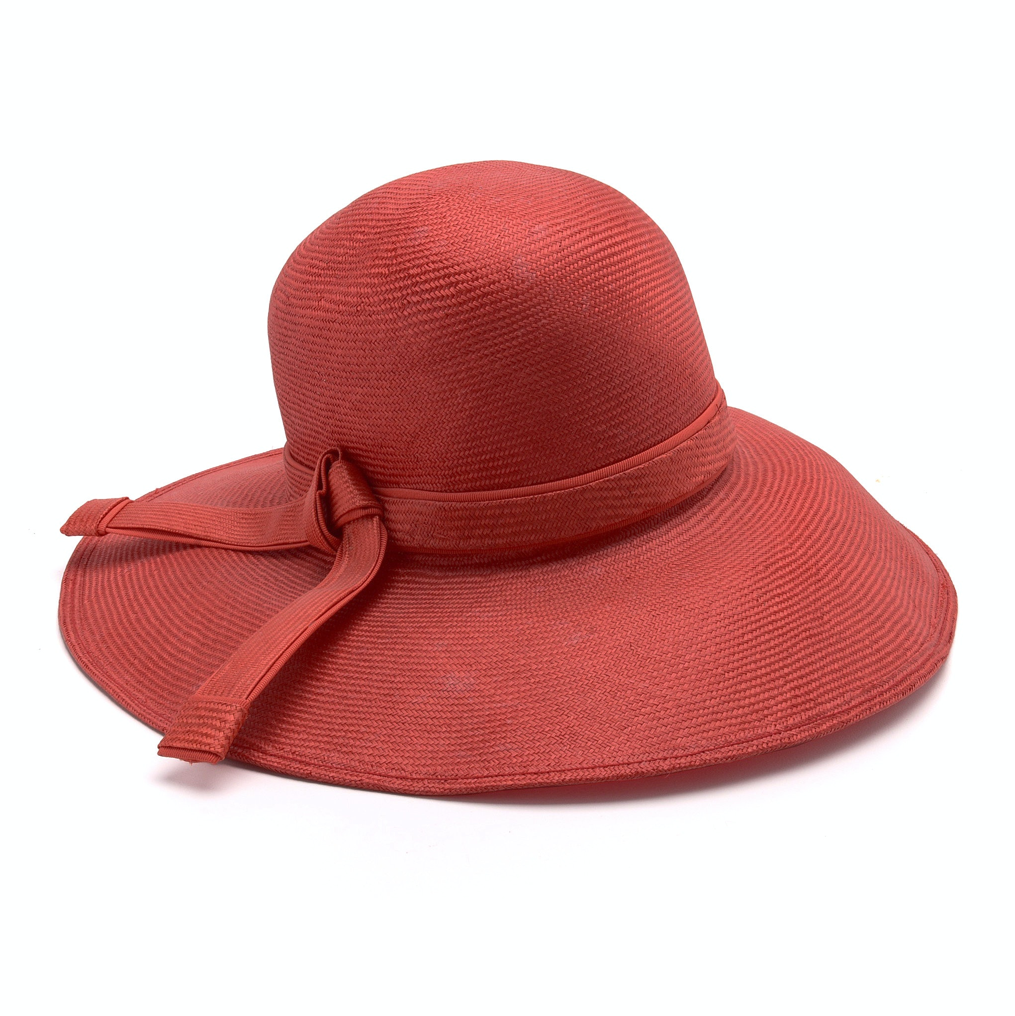 Aldolfo II of Paris and New York Red Cellophane Hat Trimmed in Grosgrain Ribbon