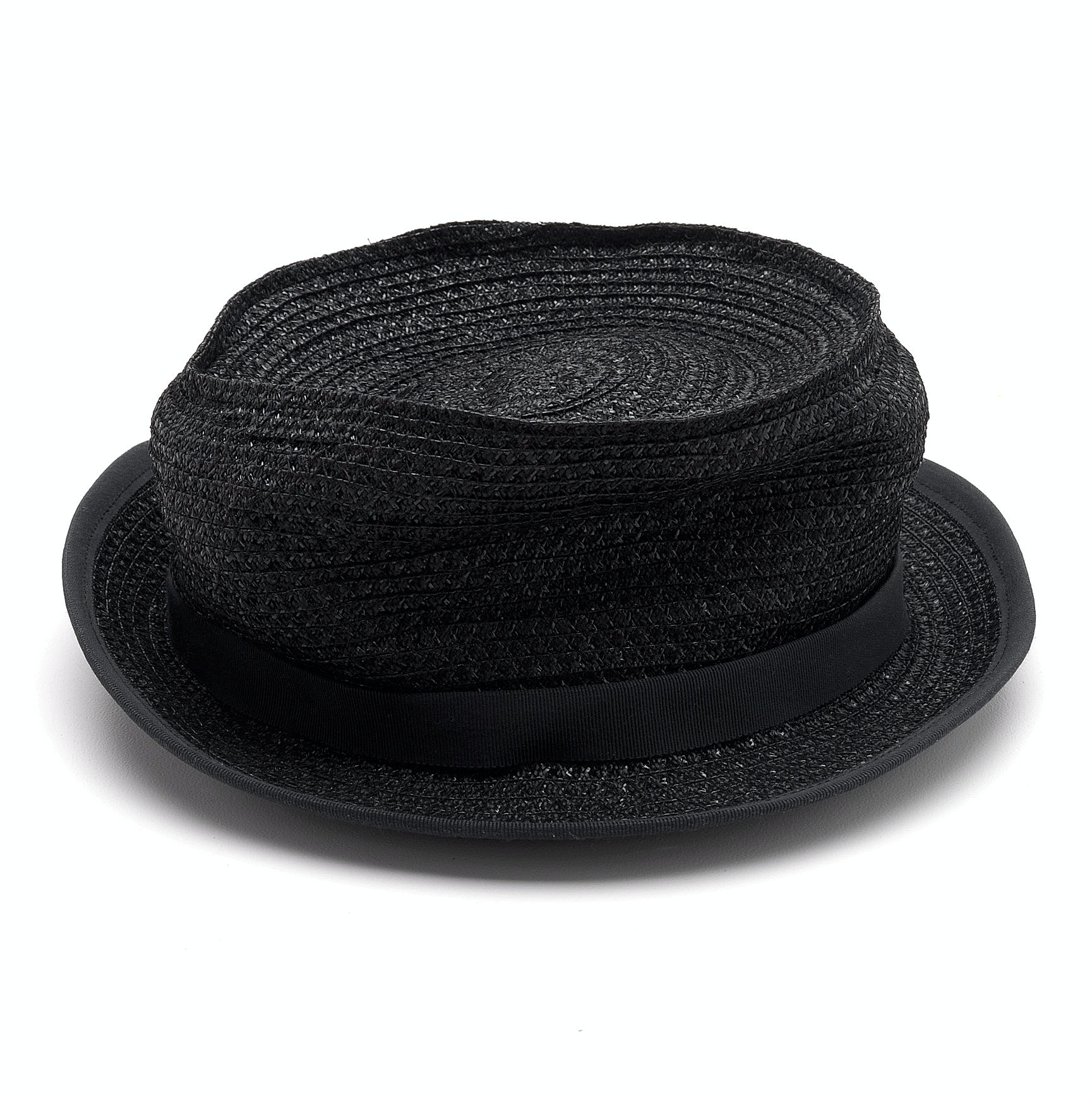 Jennifer Hoertz of New York Black Cellophane Pork Pie Hat with Black Grosgrain Ribbon and Upturned Brim