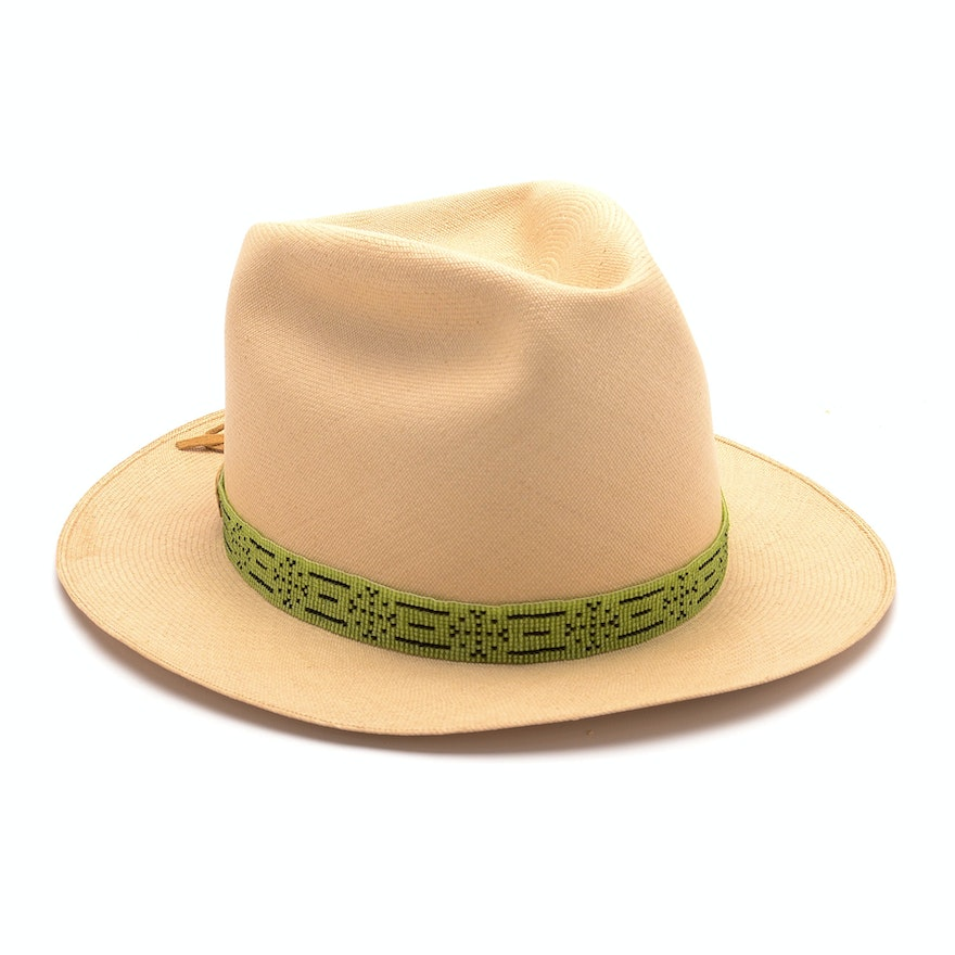 Straw Panama Hat with Hand Beaded Leather Band from