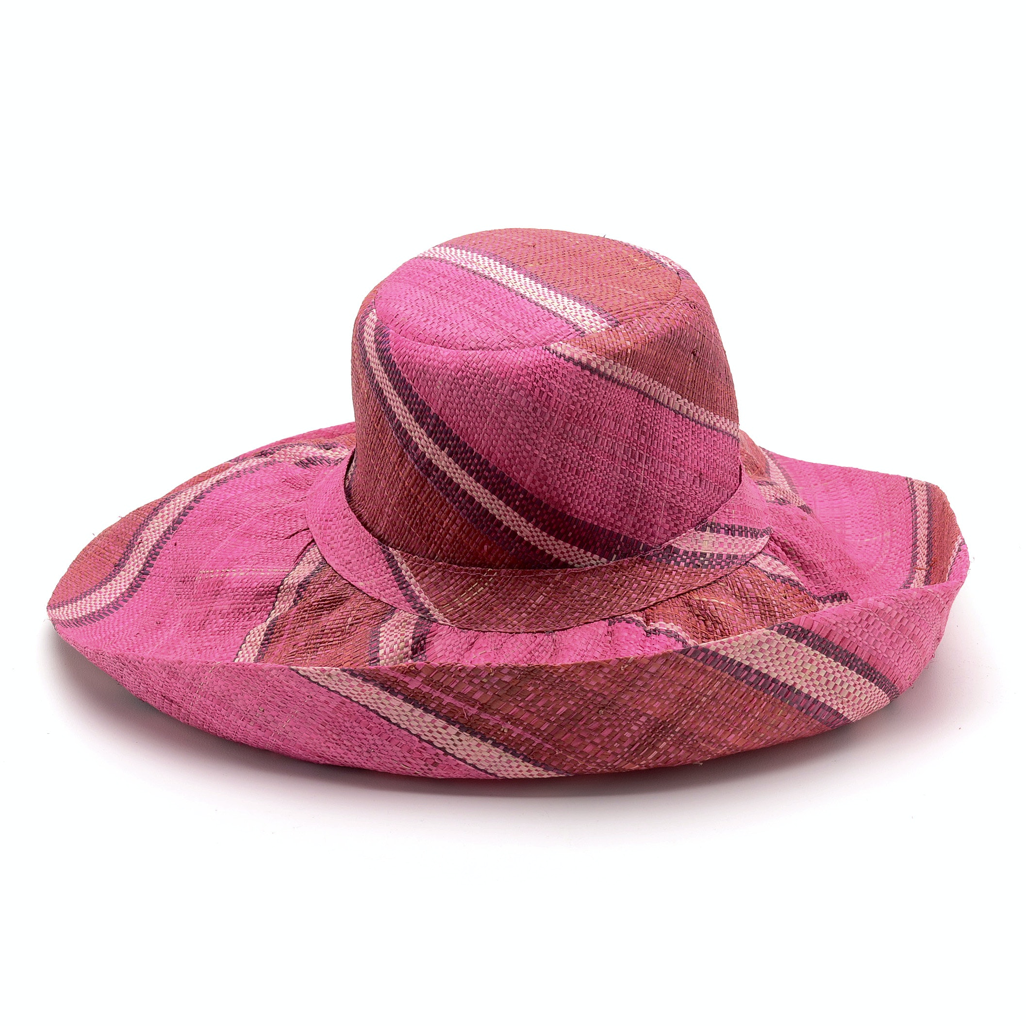 Angela Moore Raphia Medium Brim Floppy Hat in Shades of Pink and Red