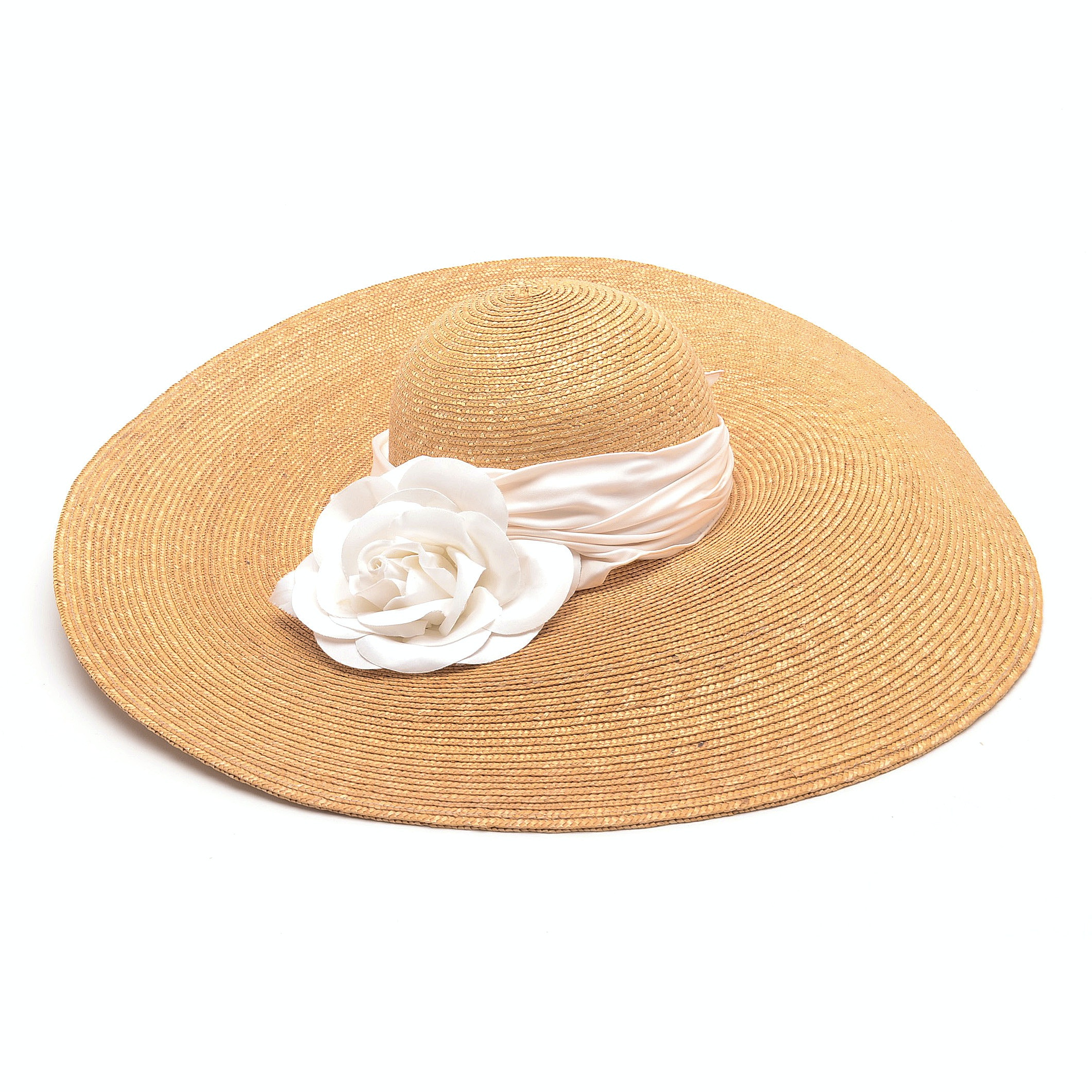Madcaps of Paris and New York Natural Straw Picture Hat with Hand Cut White Fabric Rose and Silky Hand Tied Band